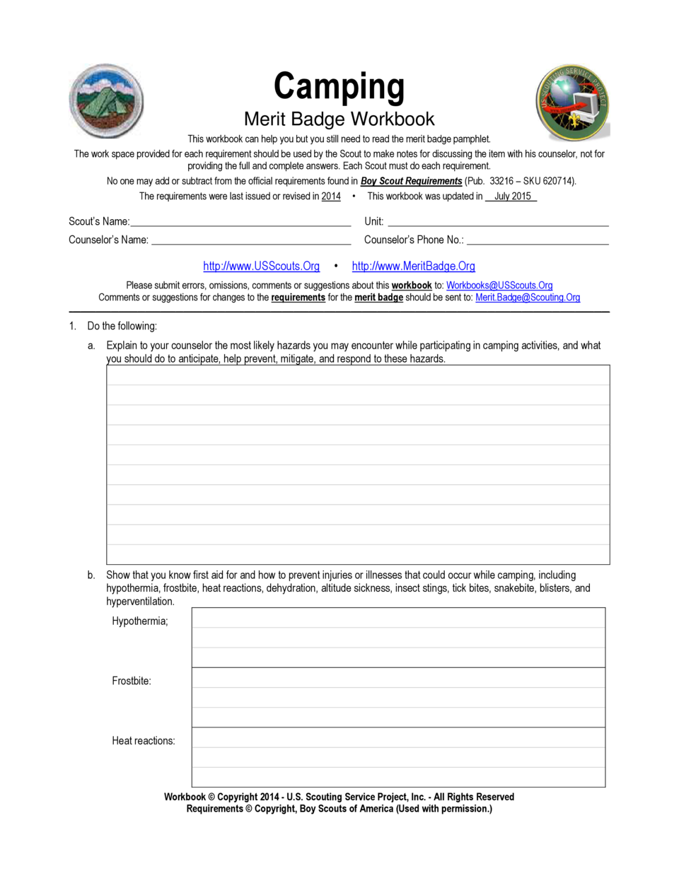 Cooking Merit Badge Worksheet Answers