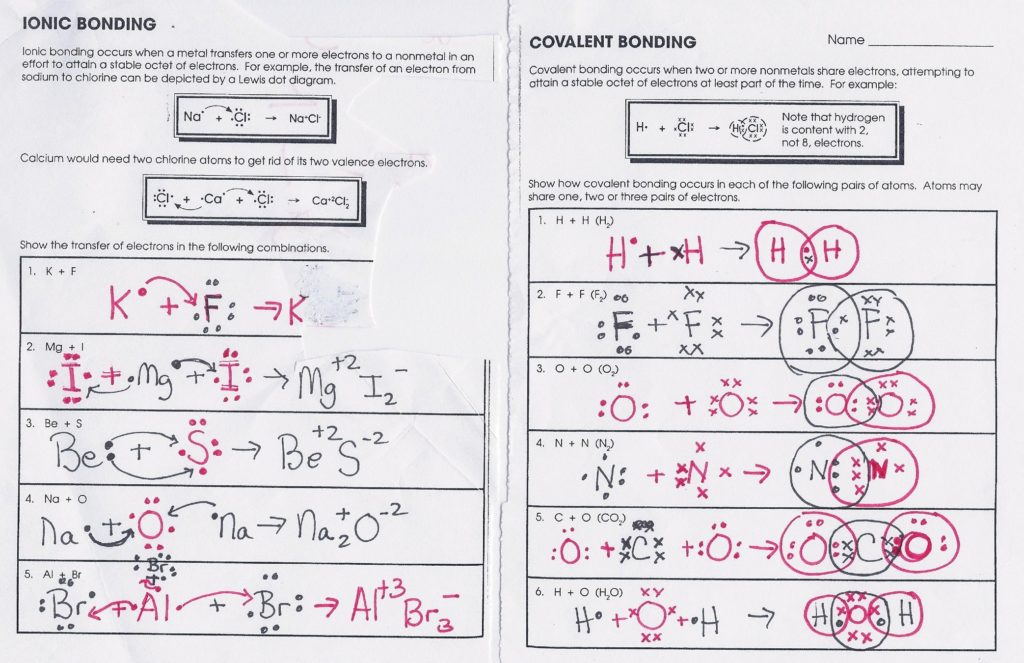 Covalent Bond Worksheet