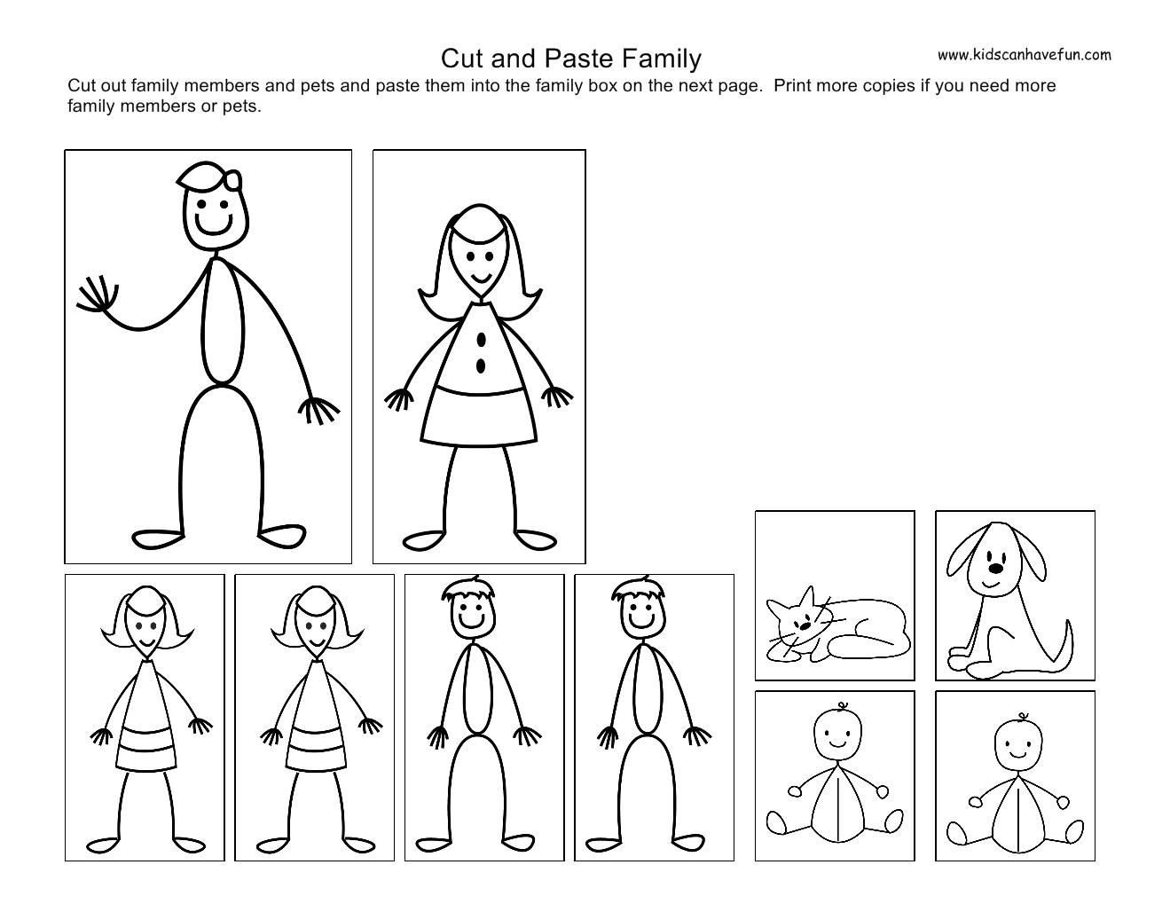 Cut And Paste Kids Family Worksheets Sorting Kindergarten