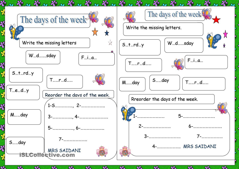 Days Of The Week Free Printable Worksheets