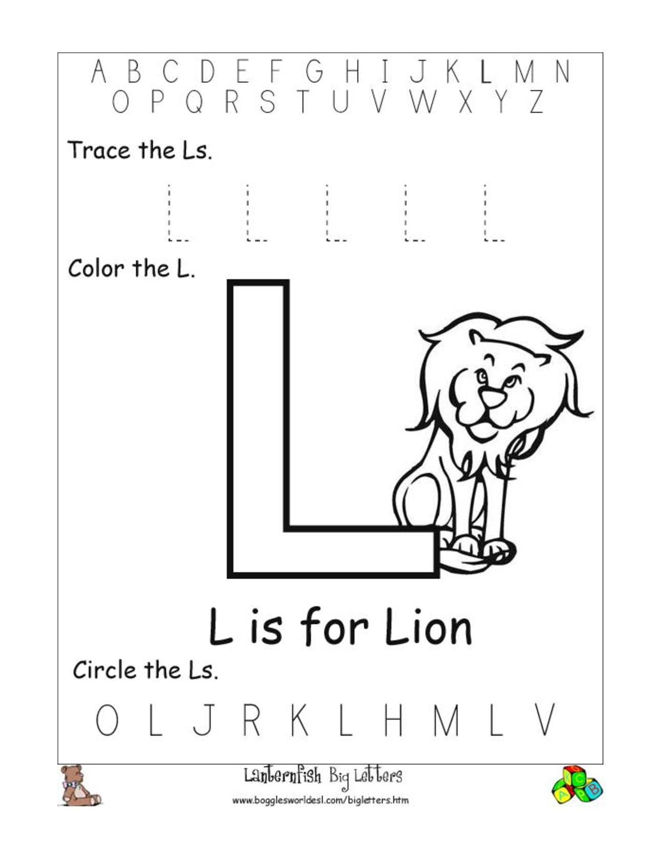 Dazzling Preschool Letter L Worksheets 24 1 Printable