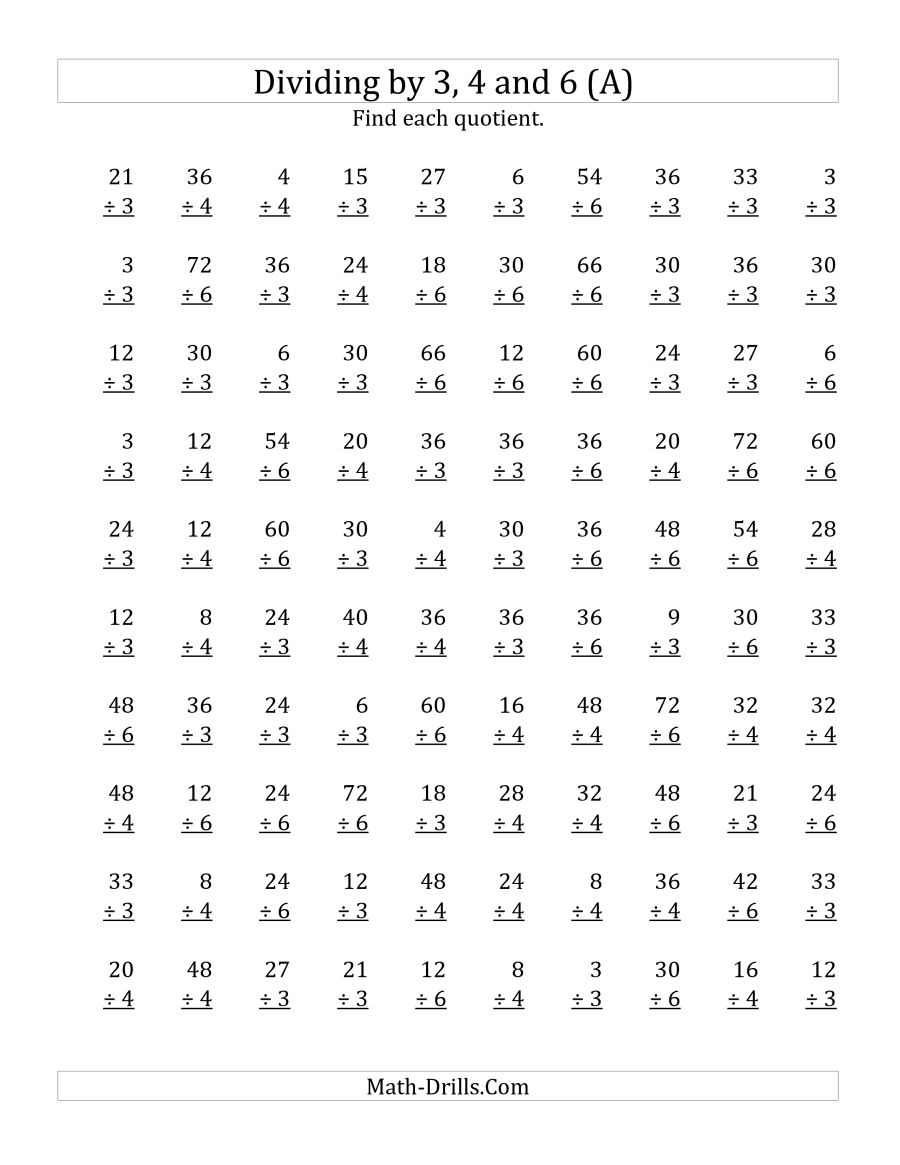 Dividing By 3, 4 And 6 (quotients 1 To 12) (a)
