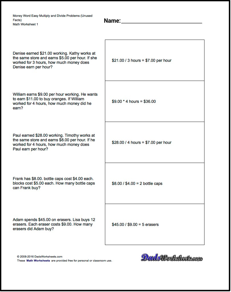 Divisions  Money Word Problems Maths Ks Extra Facts Easy Multiply