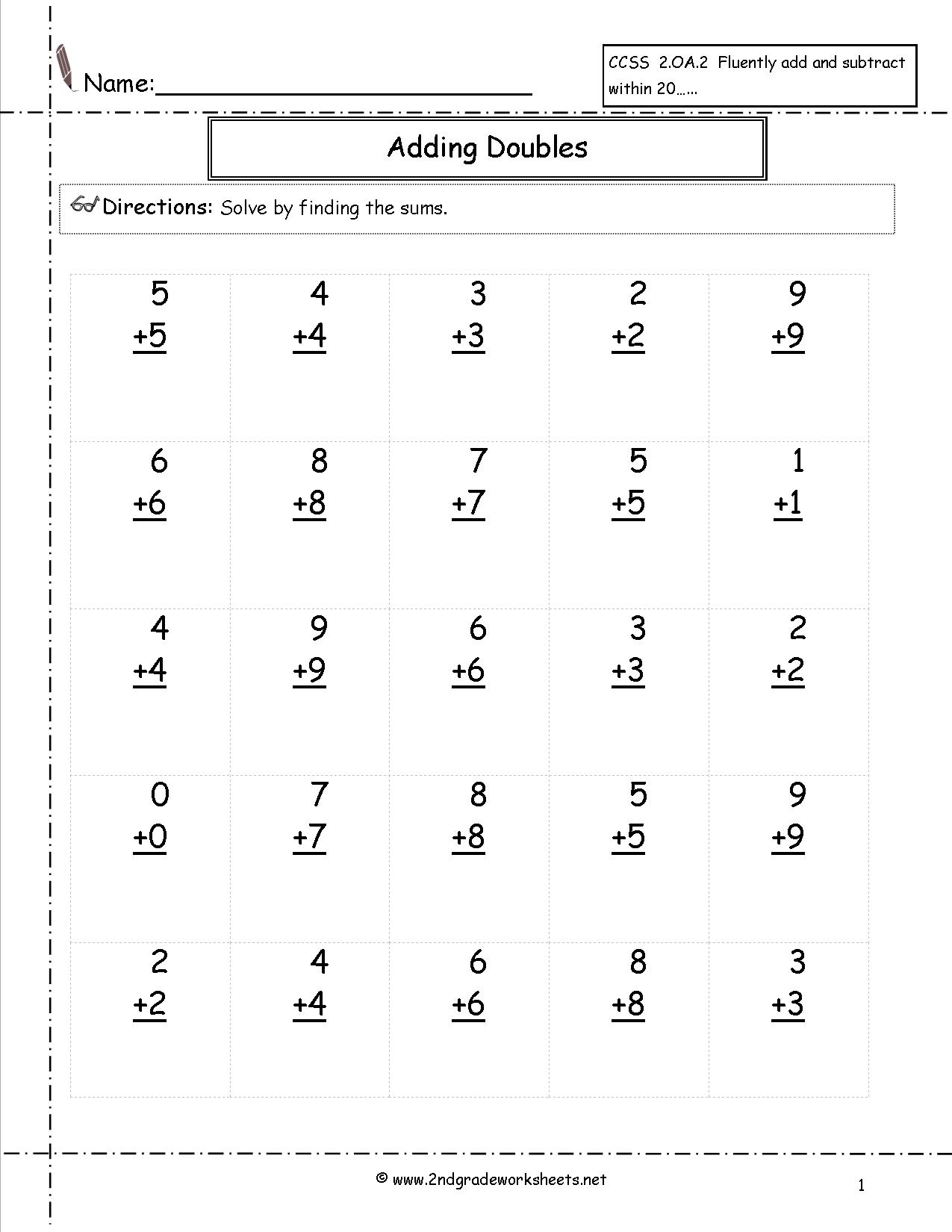 Double Addition Worksheets The Best Worksheets Image Collection