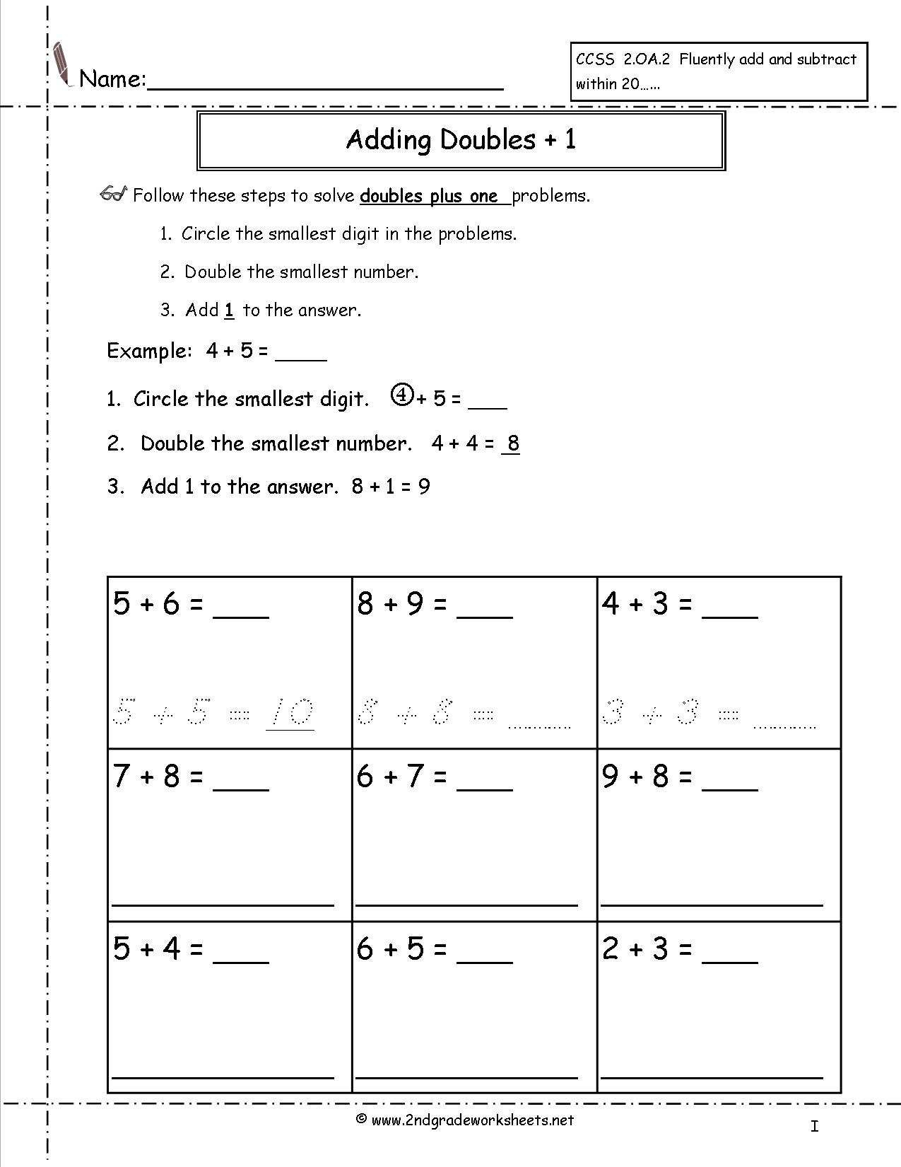 Doubles Plus One Worksheets Free Library Download And Math