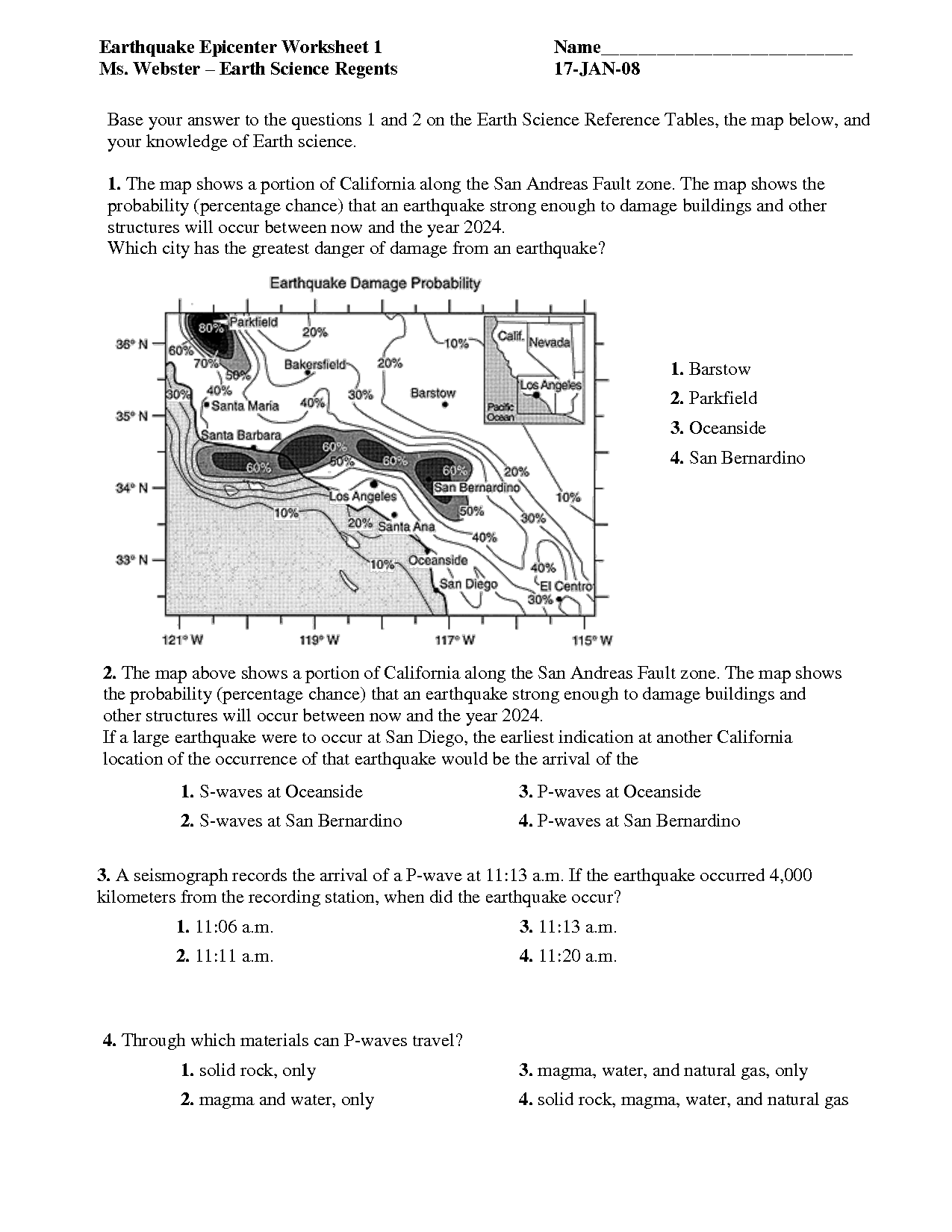 Earthquake Worksheets Middle School The Best Worksheets Image