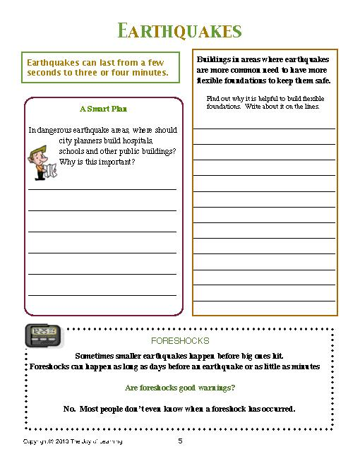 Earthquakes Worksheets Middle School The Best Worksheets Image