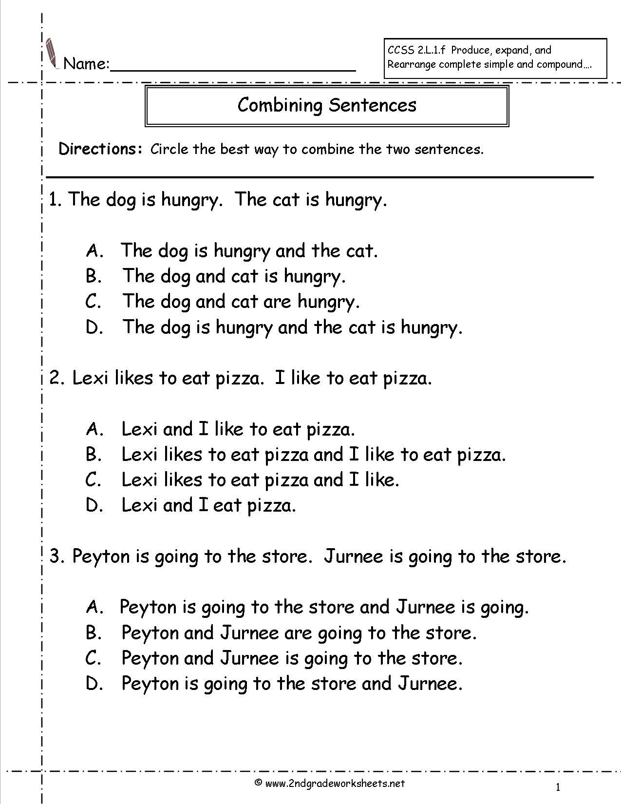 Editing Sentences Worksheets 2nd Grade The Best Worksheets Image
