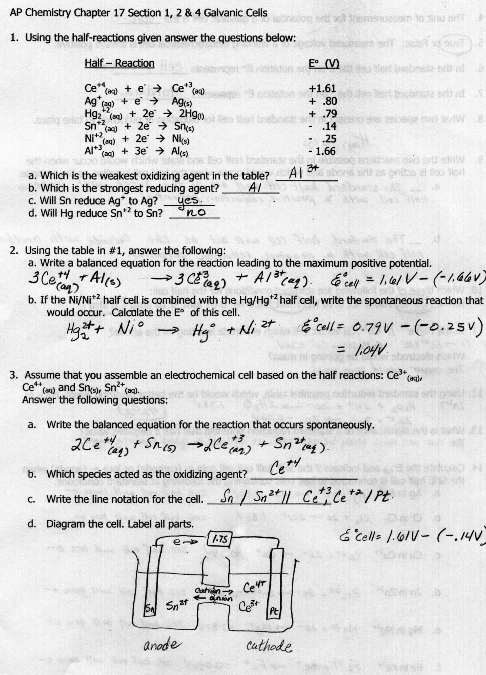 Electrochemistry Worksheet Answer Key Kidz Activities On