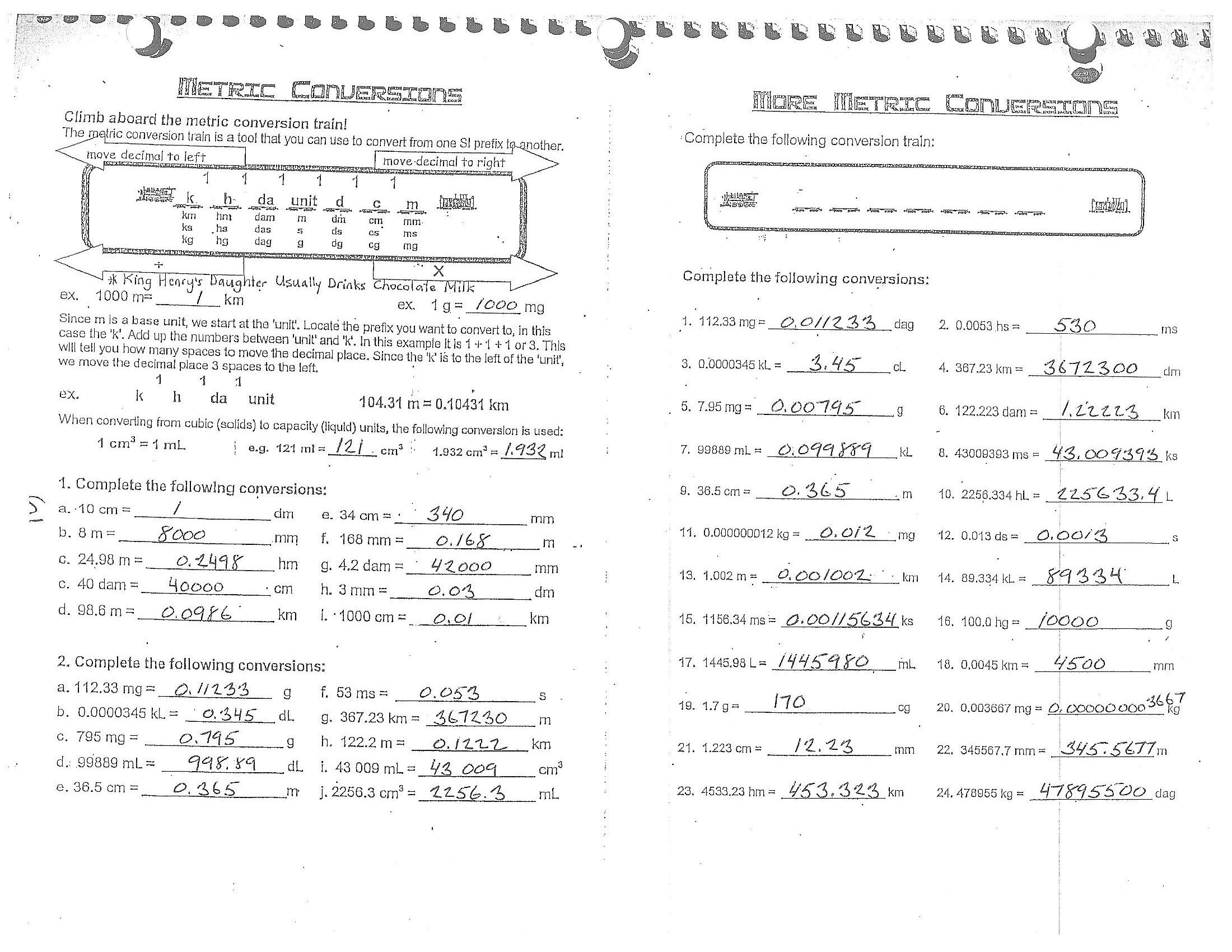 English Metric Conversions Worksheet