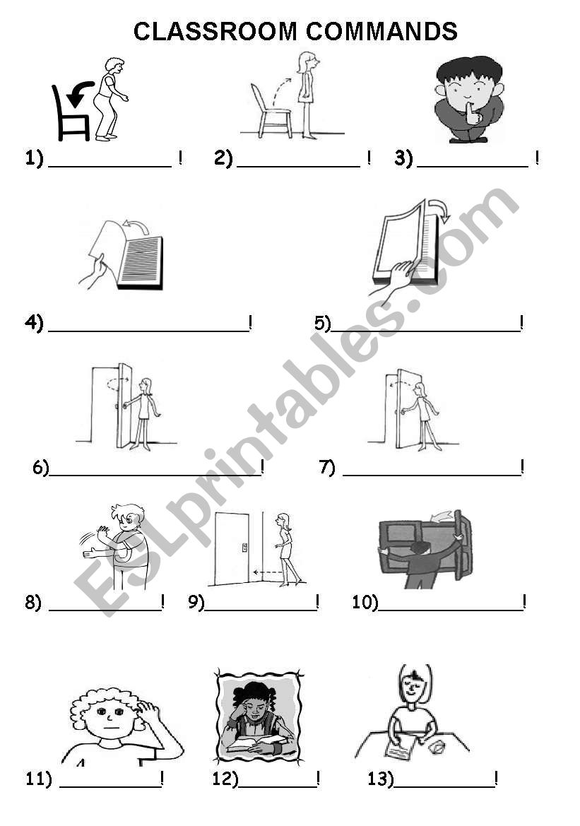 English Worksheets  Classroom Actions 2