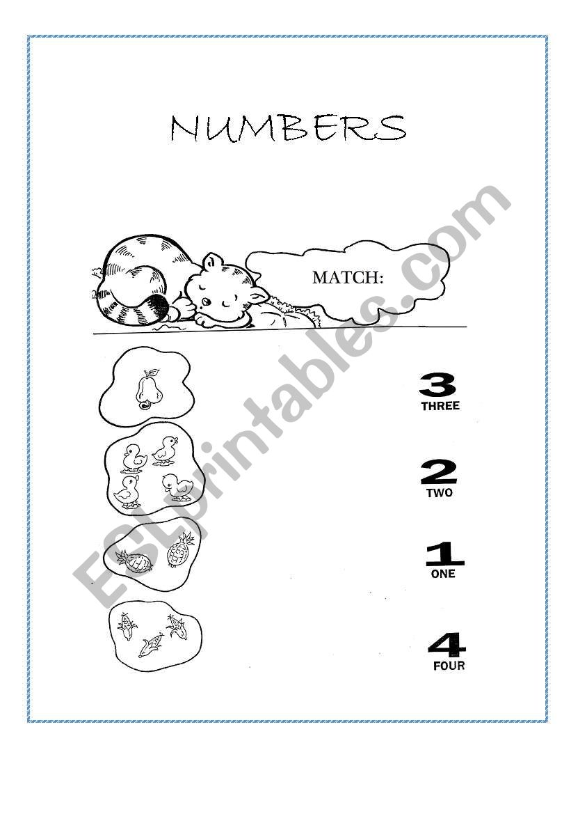 English Worksheets  Numbers 1
