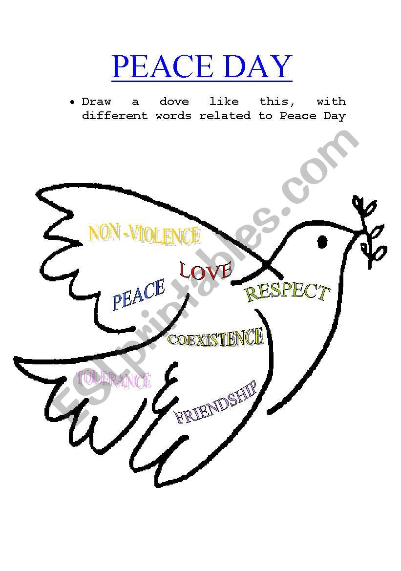 English Worksheets  Peace Day