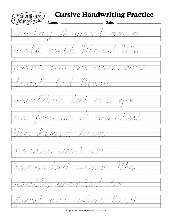 Excel  Second Grade Handwriting Worksheets  Cursive Handwriting