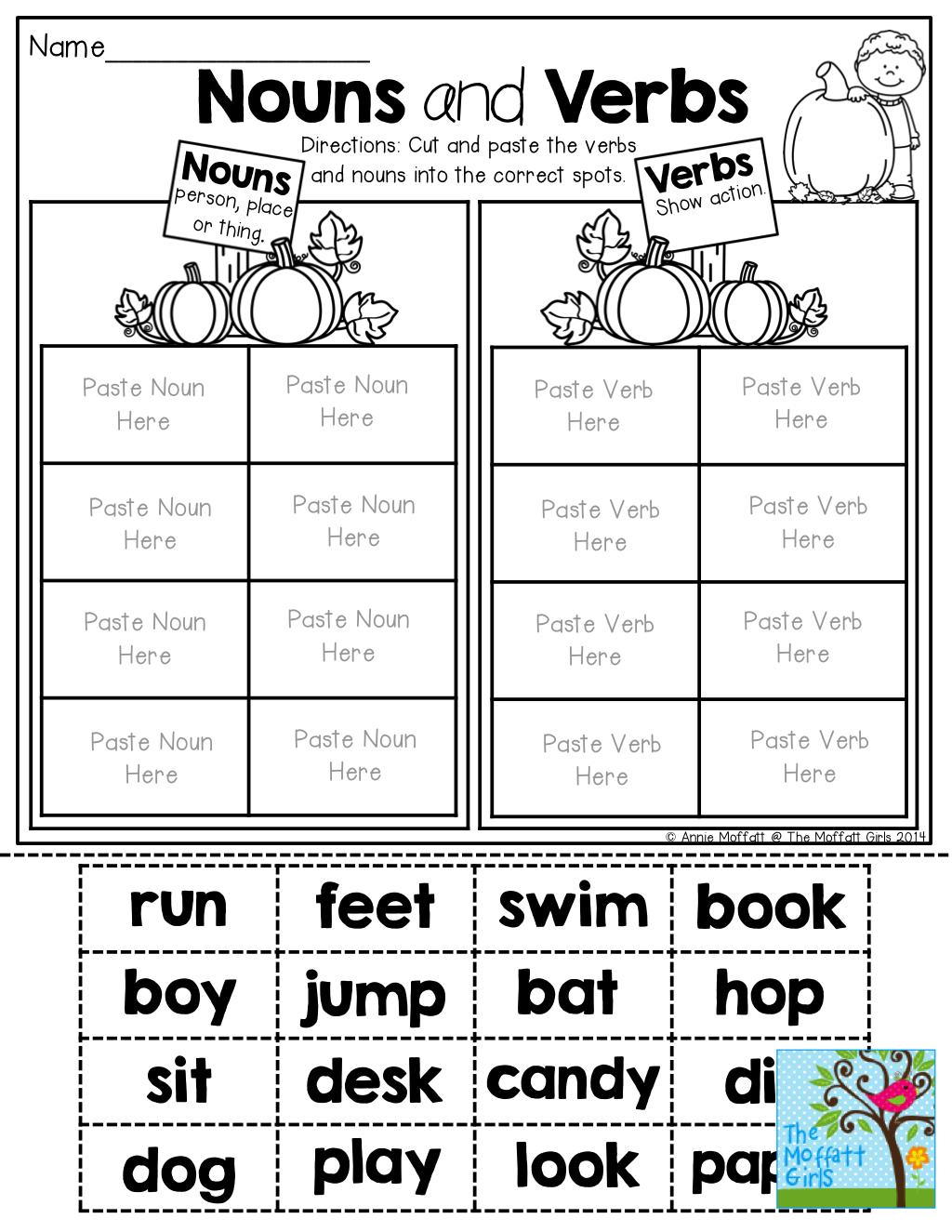 Extraordinary Nouns Verbs Adjectives Worksheets Kindergarten In