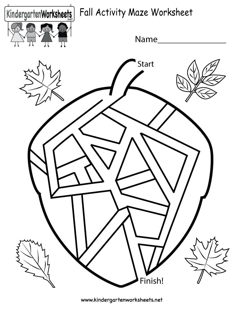 Fall Worksheets For Kindergarten Worksheets For All – Worksheets