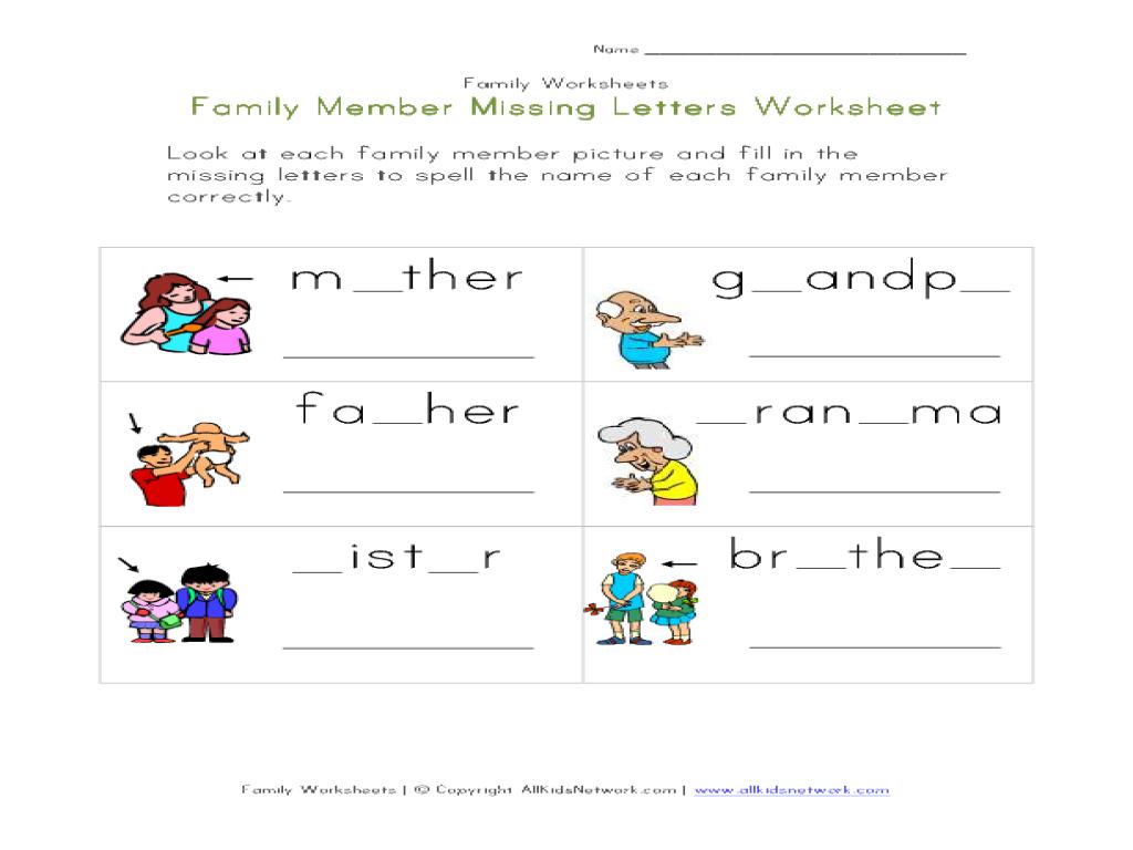 Family Members Worksheets For Preschool