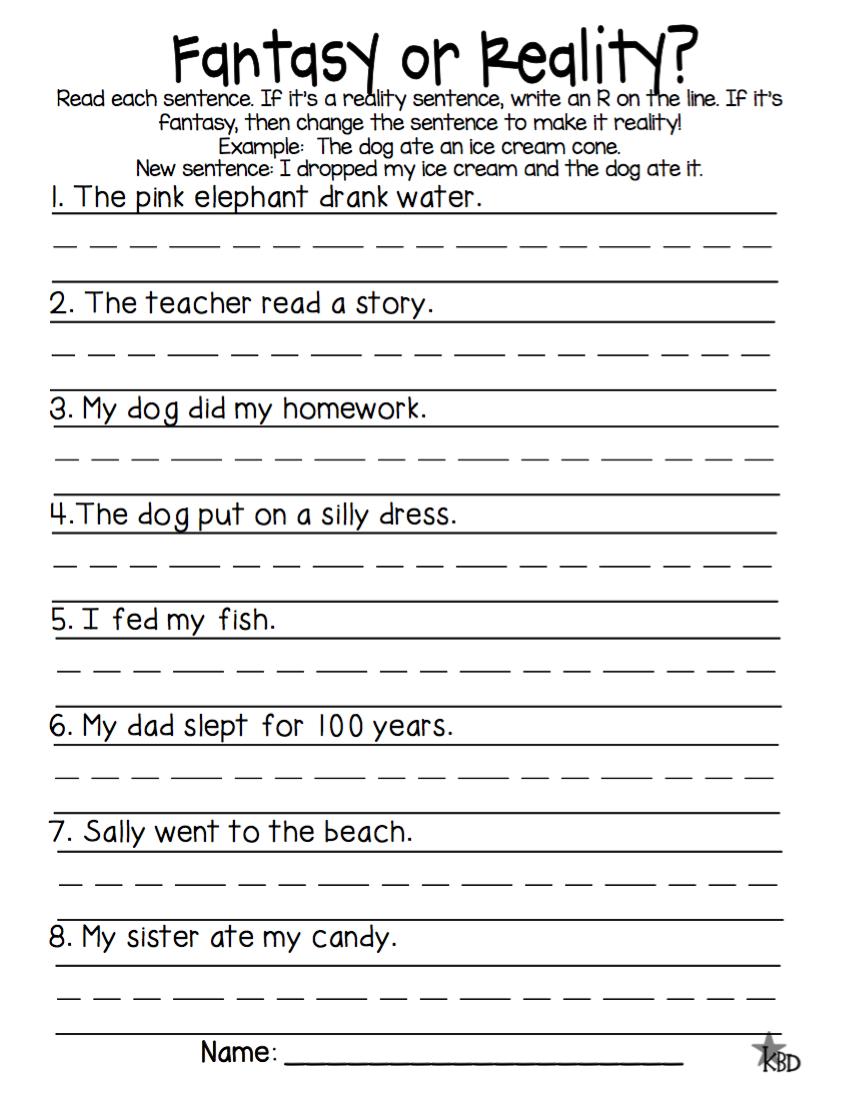 Fantasy And Reality Worksheets 3rd Grade