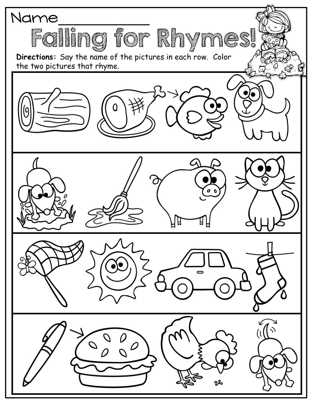 Fascinating Rhyming Worksheets For Kindergarten Free About