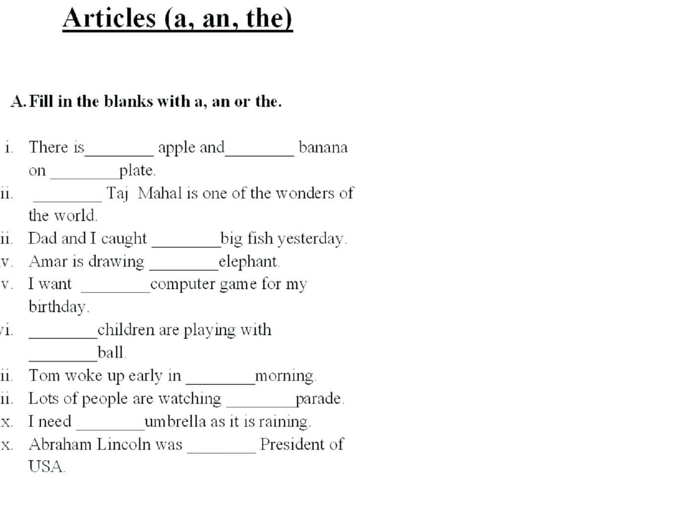 Fill In The Blank Worksheets For First Grade