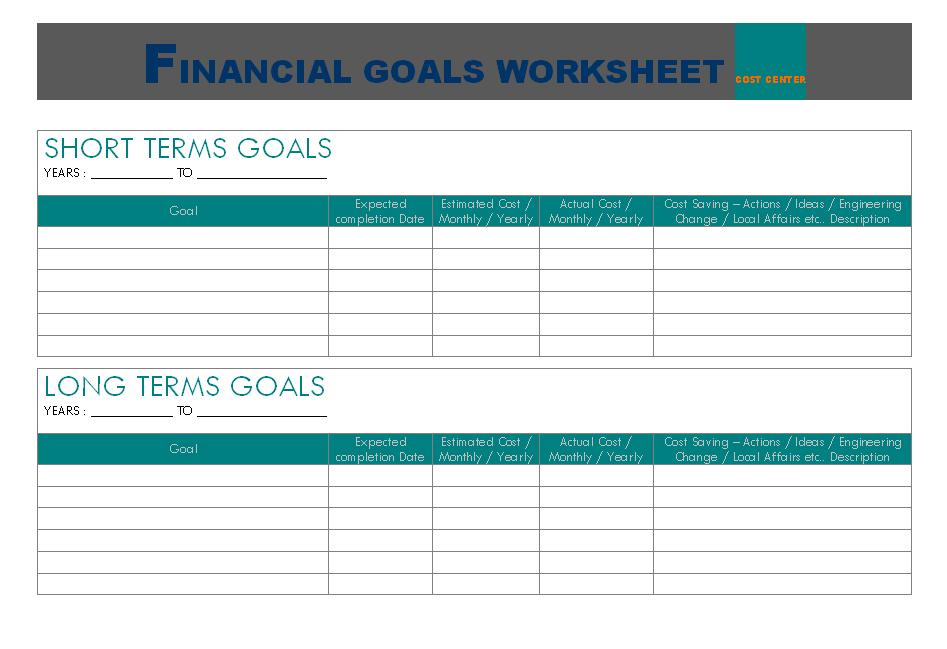 Financial Goal Worksheet
