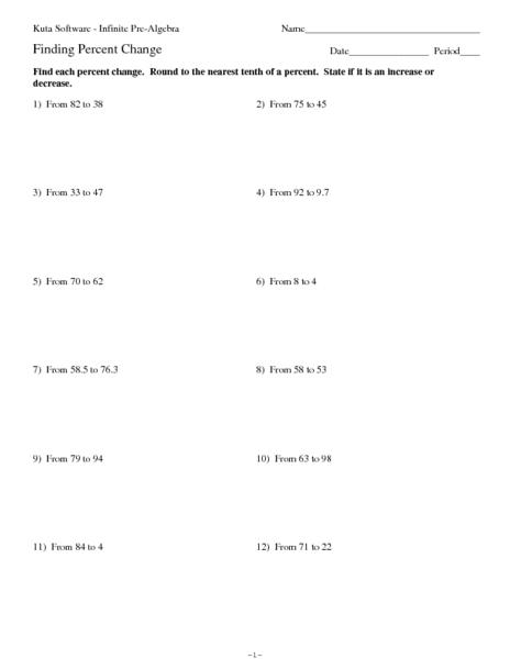 Finding Percentage Worksheets Percent Of Change Worksheet