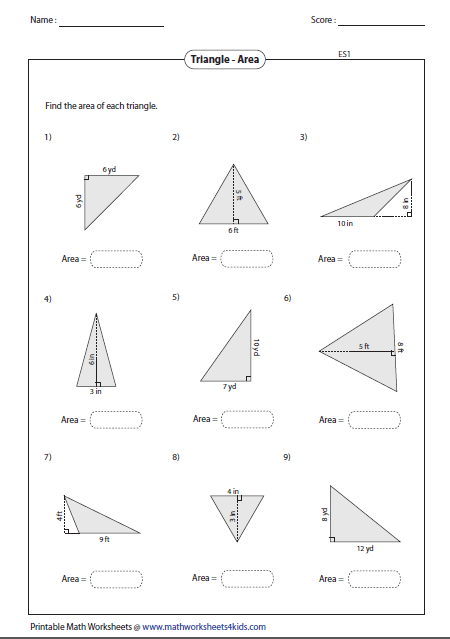 Finding The Area Of A Triangle Worksheet Education Com