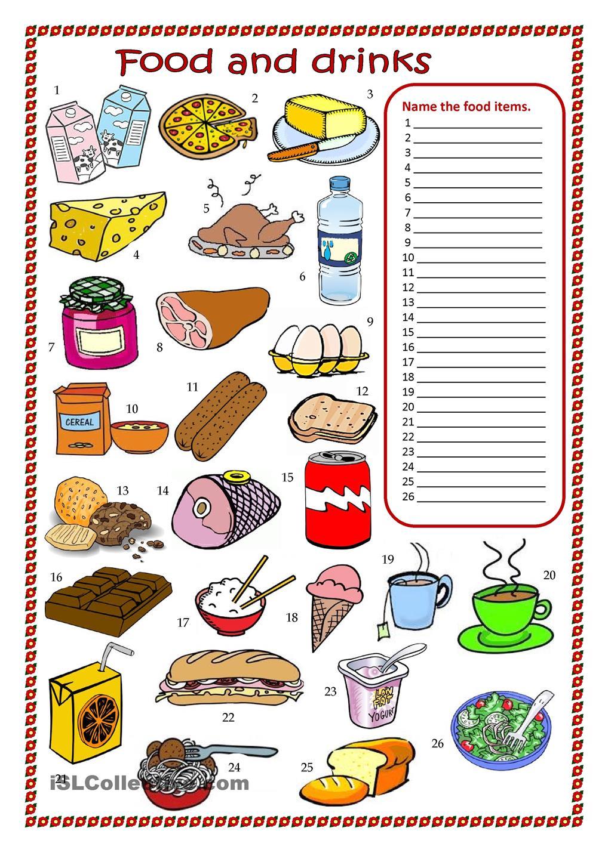 Food And Drinks Worksheet – Worksheets Samples