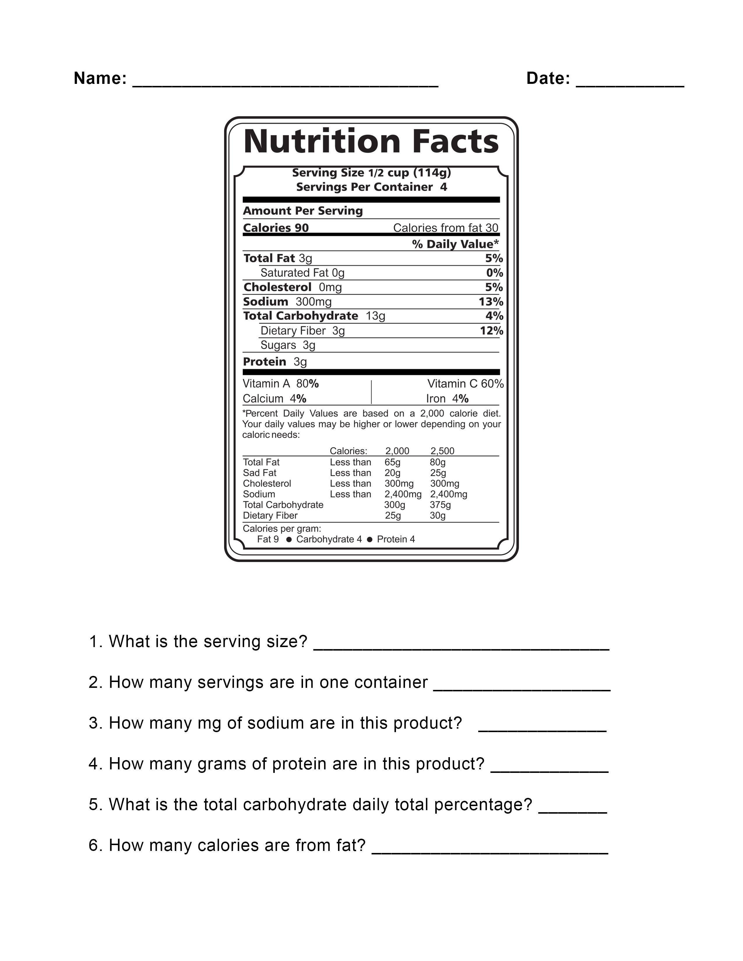 Food Label Worksheet The Best Worksheets Image Collection