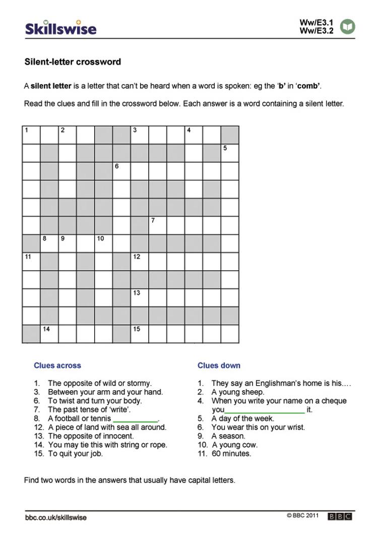 Formidable Bbc English Worksheets Ks1 On Silent Letter Crossword