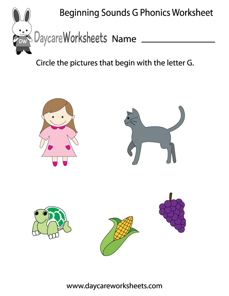 Free Beginning Sounds Letter G Phonics Worksheet For Preschool