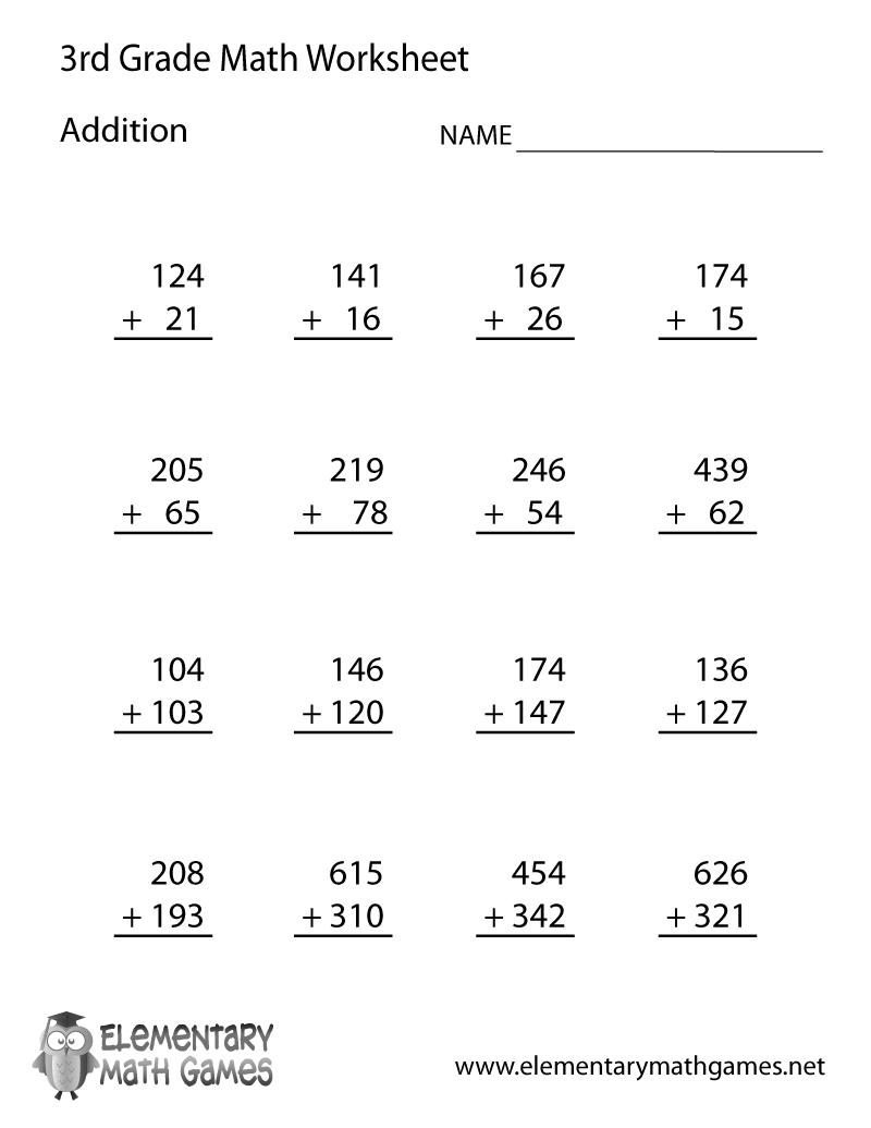 Free Math Printables For 3rd Grade