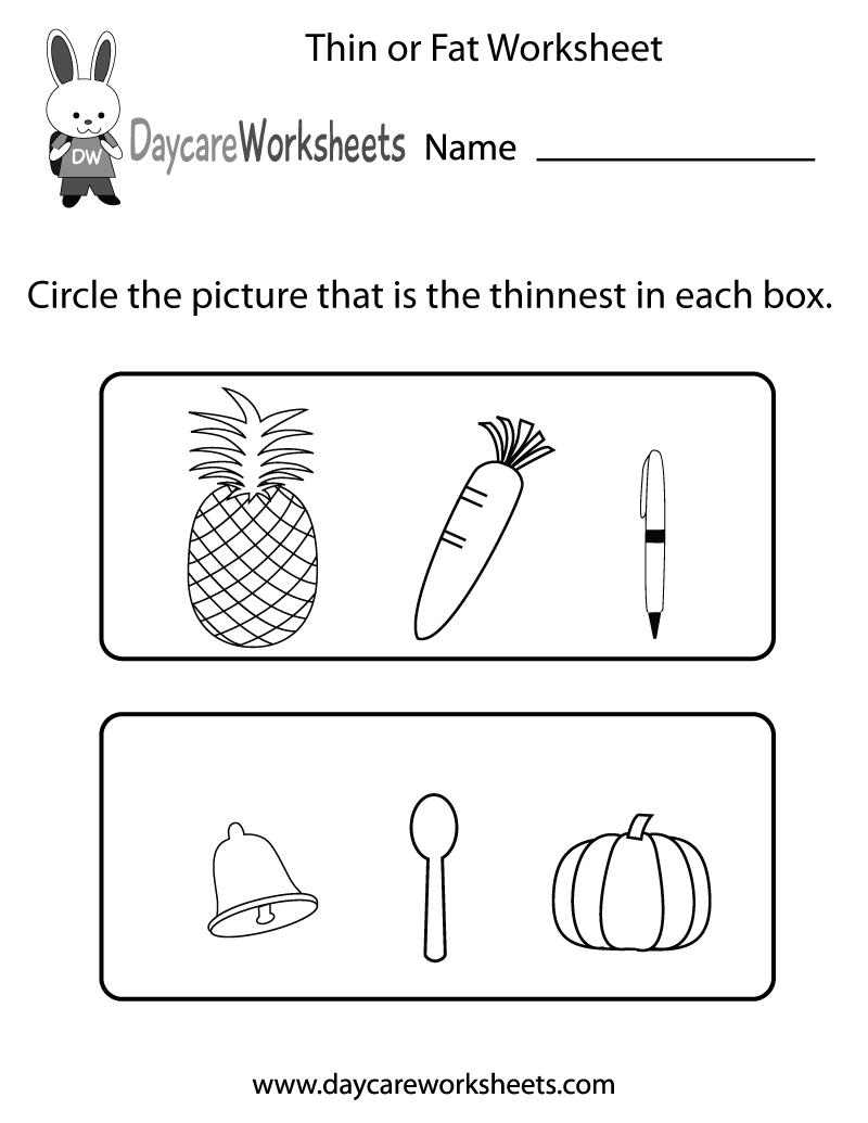 Free Preschool Thin Or Fat Worksheet Kindergarten Measurement