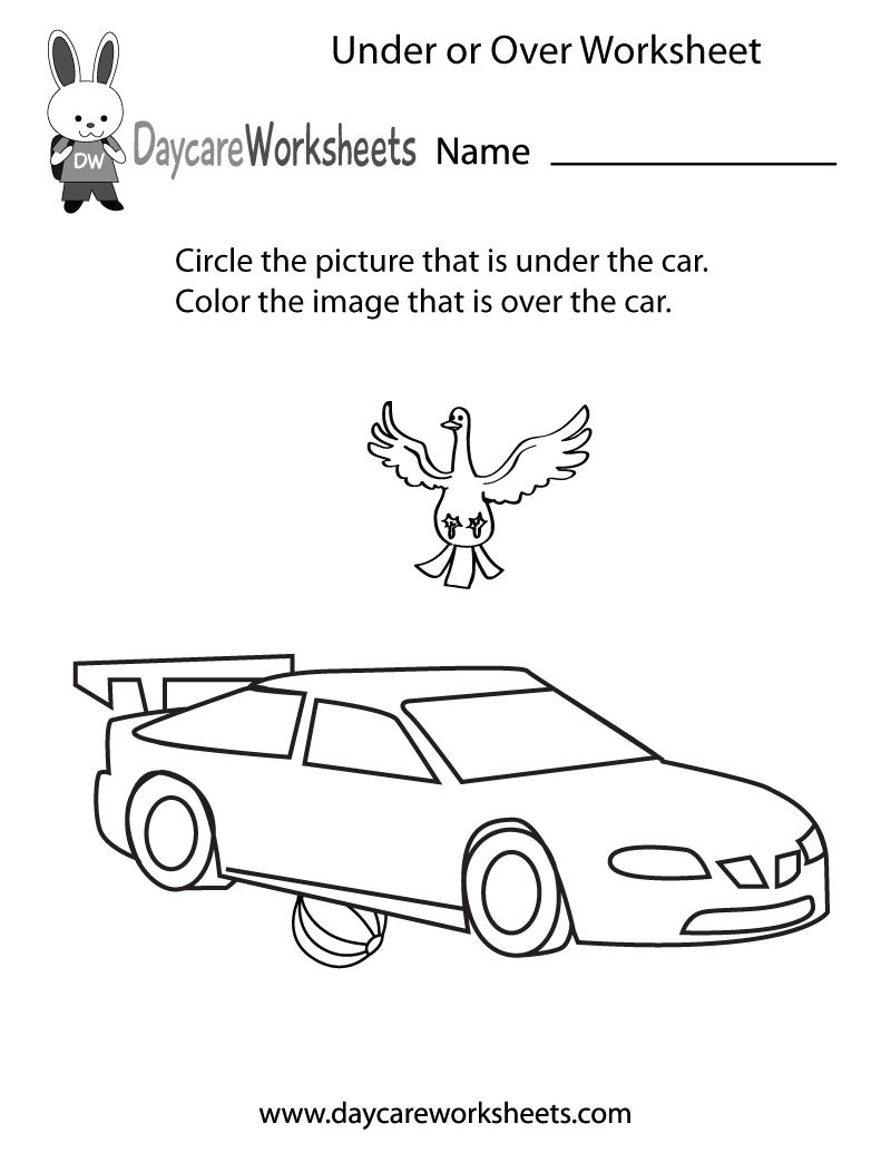 Free Preschool Under Or Over Worksheet Position Word Worksheets