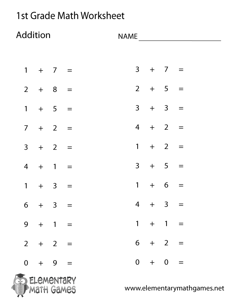 Free Printable Simple Addition Worksheet For First Grade