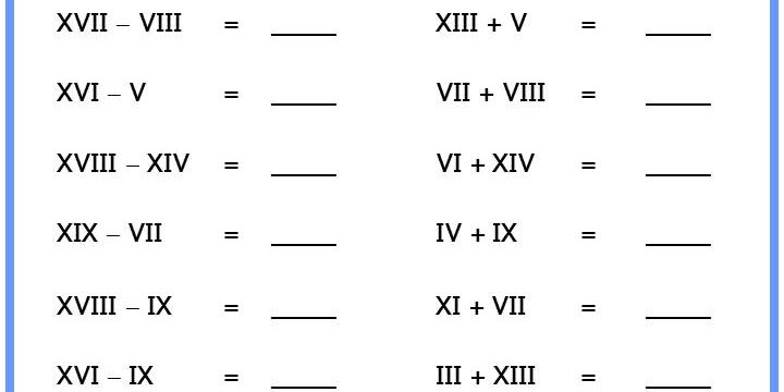 Free Roman Numerals Worksheets