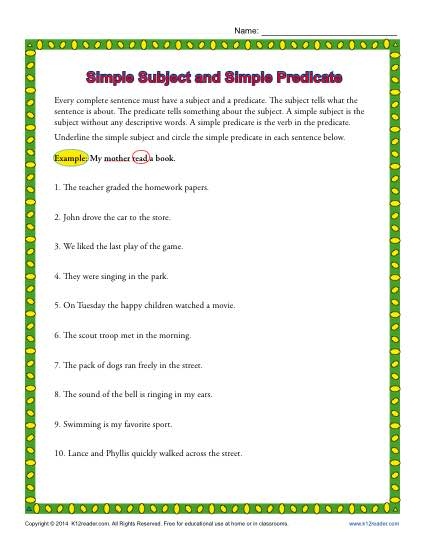 Free Subject And Predicate Worksheet The Best Worksheets Image