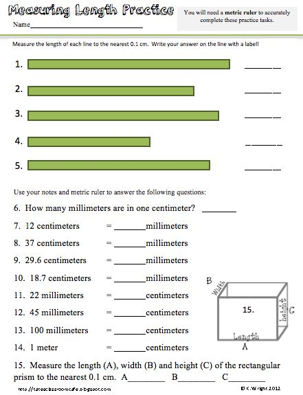 Fun Metric Worksheets From Nancy B