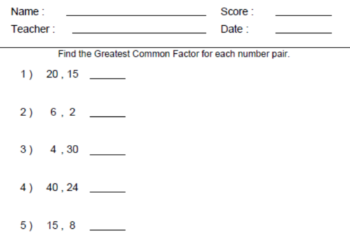 Gcf Worksheet 6th Grade The Best Worksheets Image Collection
