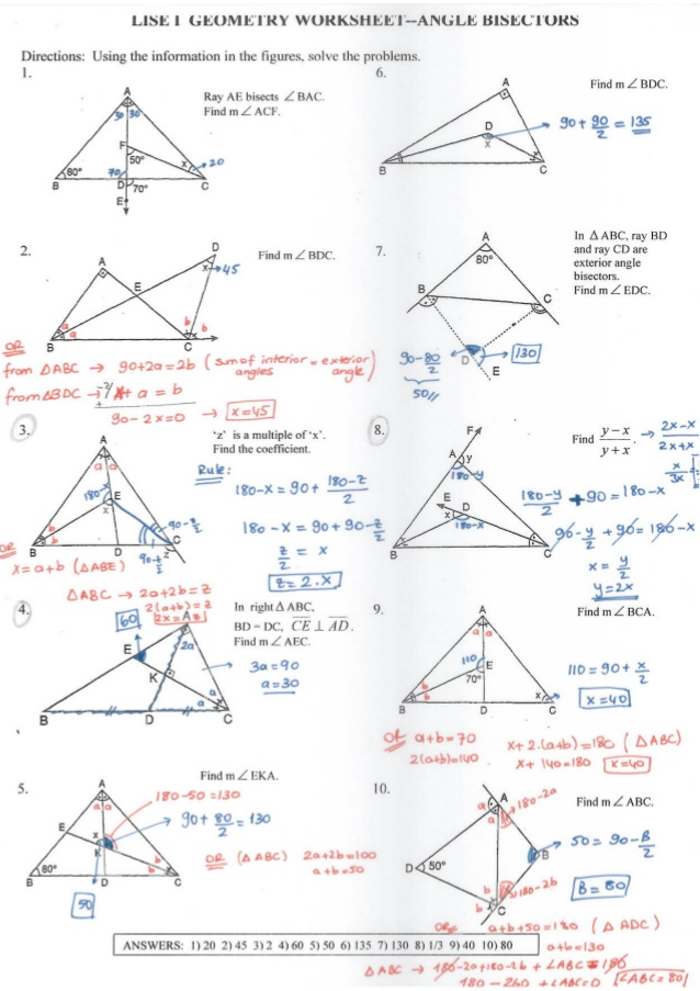 Geometry Worksheets And Answers The Best Worksheets Image