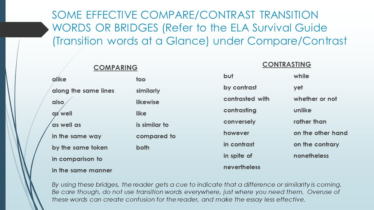 Good Transition Words For An Essay Good Ideas For Compare And