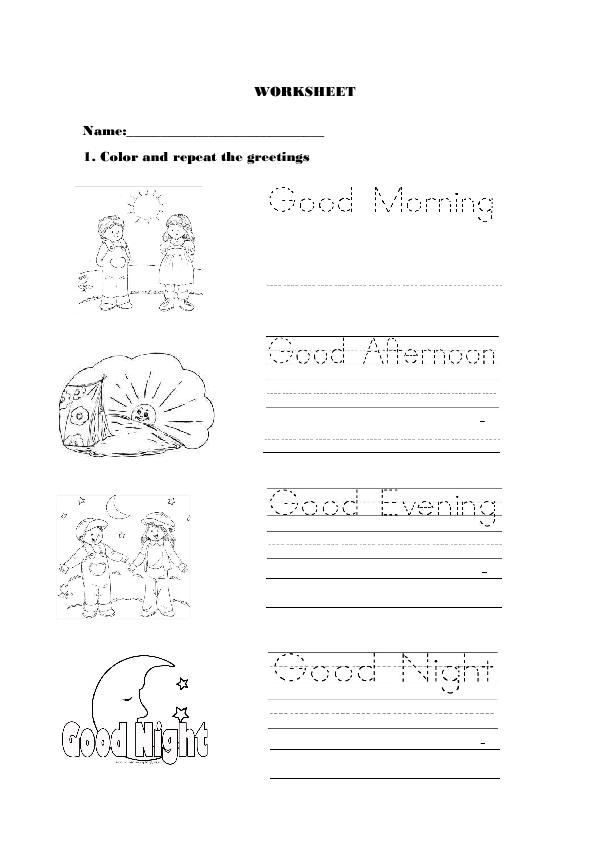 Greetings Worksheets For Preschoolers Pdf 467179