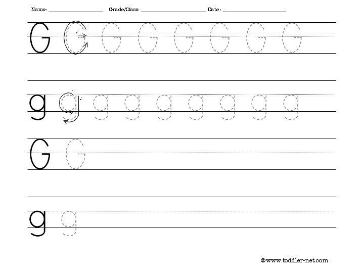 Handwriting Worksheets Letter G 53057