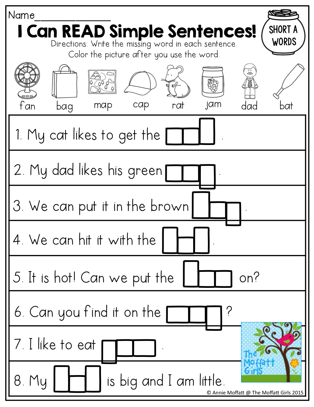 I Can Read! Simple Sentences With Cvc Words To Fill In!