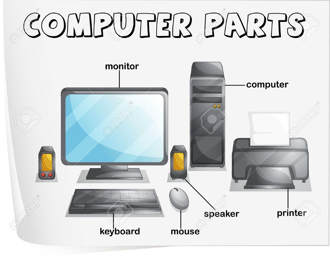Illustration Of Computer Parts Worksheet Royalty Free Cliparts