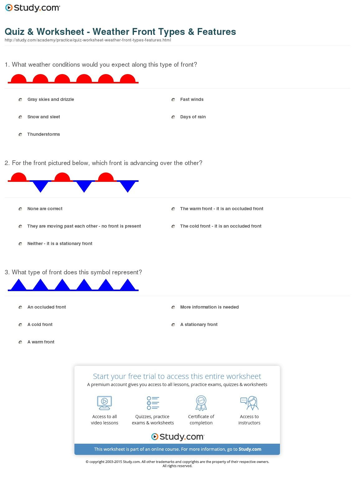Image Result For Weather Worksheets For Middle School