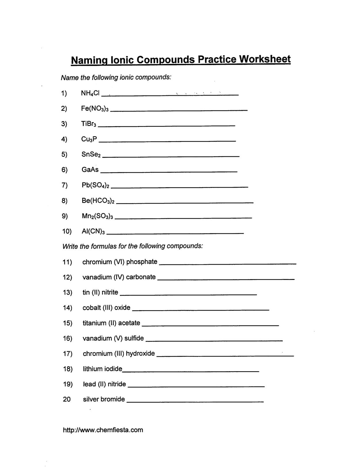 Ionic Formula Worksheet The Best Worksheets Image Collection