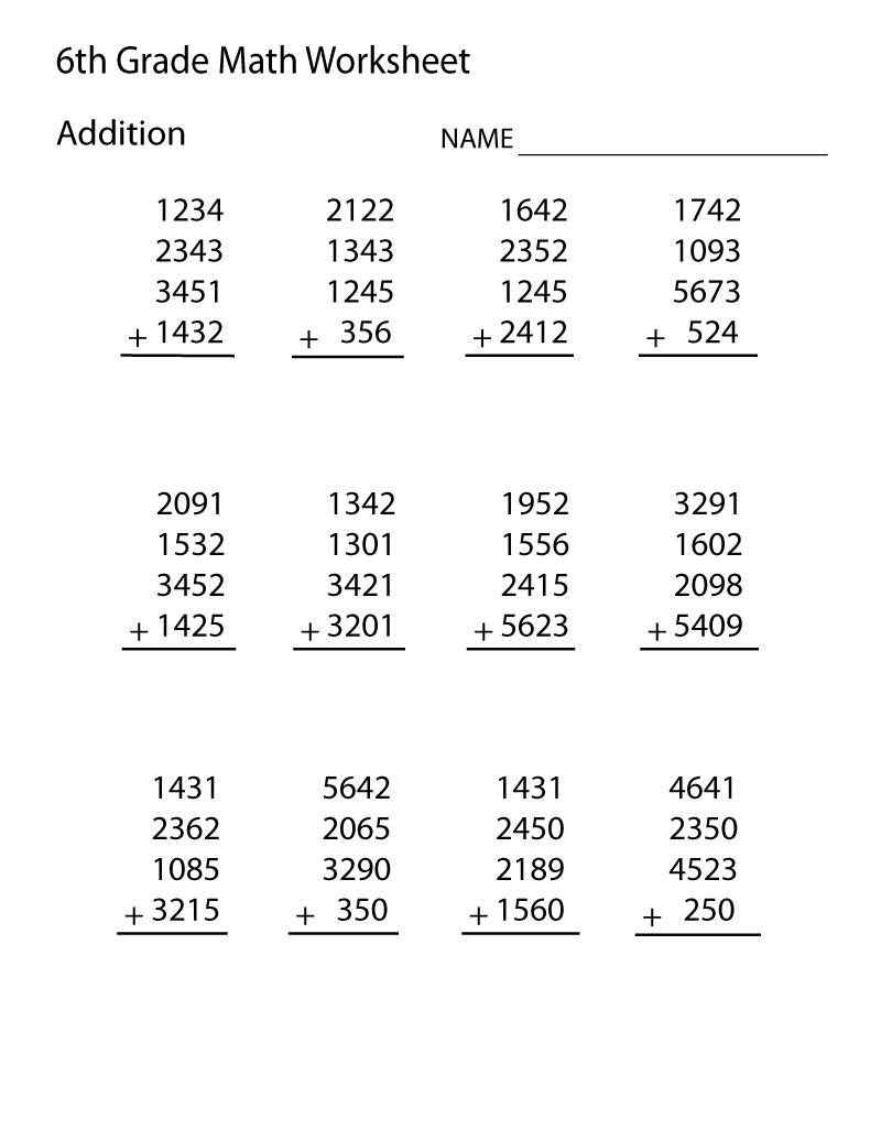 Kids  Grade 6 Maths Worksheets  Printable Worksheets Grade Easy
