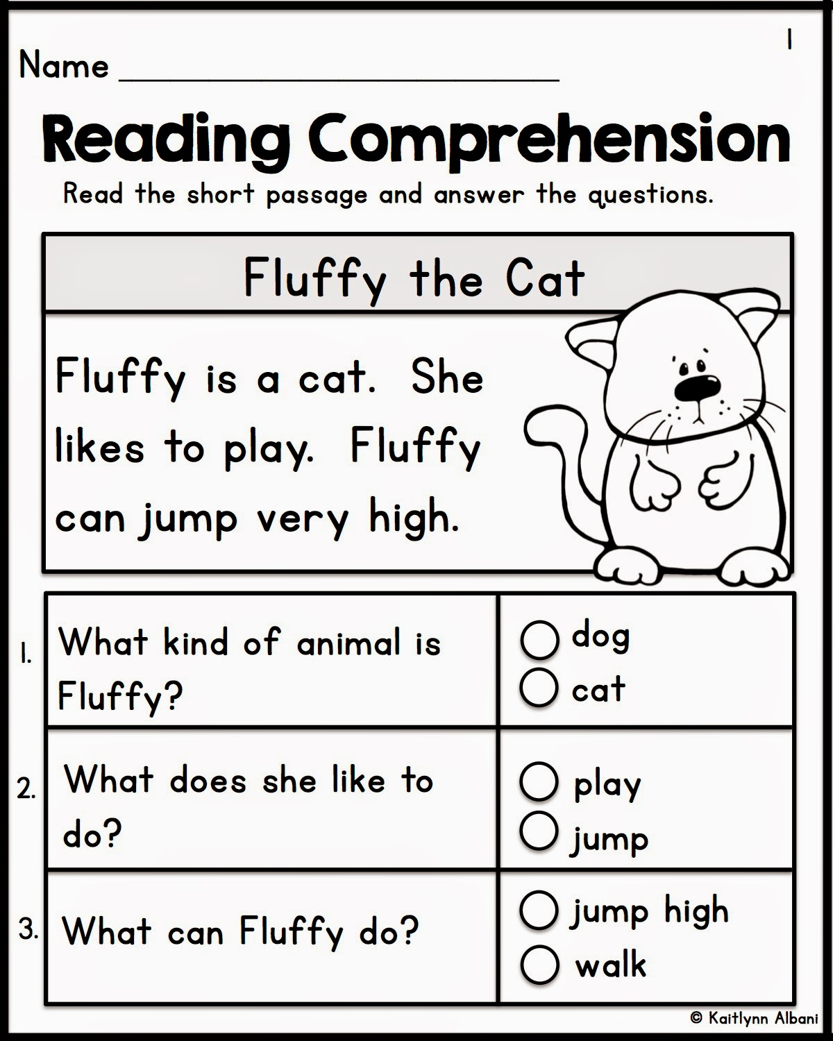Kids  Kindergarten Reading Passages With Comprehension Questions
