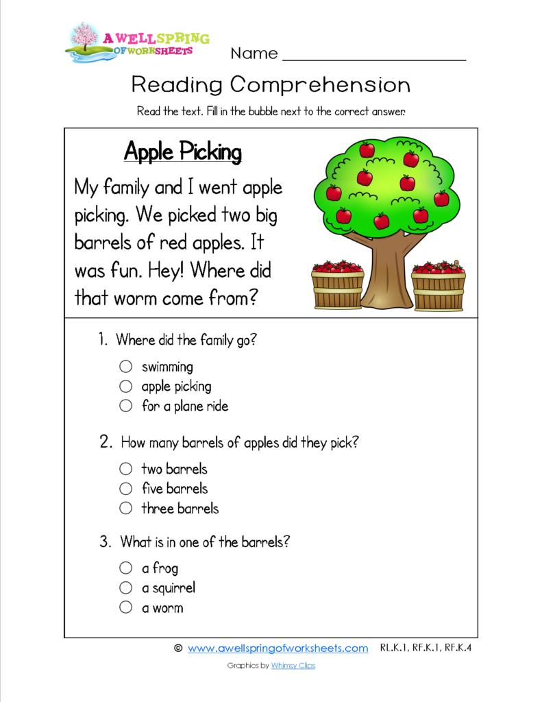 Kids  Reading Comprehension Activities For Kindergarten